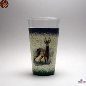 Vadász- őz motívummal díszített -vizes pohár . A vadászat szerelmeseinek . Saját trófeák fotóival is !, Otthon & Lakás, Konyhafelszerelés, Pohár, Decoupage, transzfer és szalvétatechnika, Meska