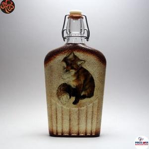 Vadász- róka motívummal díszített -pálinkás üveg. A vadászat szerelmeseinek . Saját trófeák fotóival is !, Otthon & Lakás, Konyhafelszerelés, Üveg & Kancsó, Decoupage, transzfer és szalvétatechnika, Meska