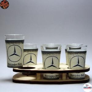 MERCEDES pálinkás pohár szett ; Mercedes rajongóknak, férjeknek, barátoknak, Otthon & Lakás, Konyhafelszerelés, Pohár, Decoupage, transzfer és szalvétatechnika, Meska