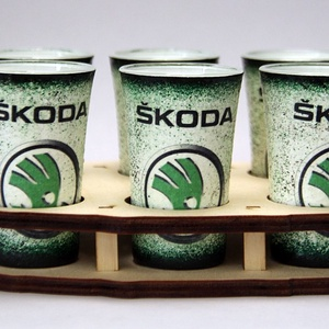 SKODA pohár készlet ; Skoda autód fényképével is!, Otthon & Lakás, Konyhafelszerelés, Pohár, Decoupage, transzfer és szalvétatechnika, Meska