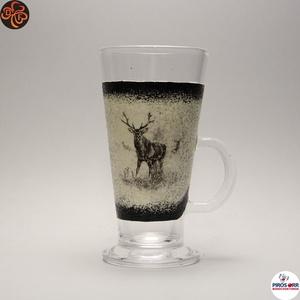 Vadász - szarvas képpel - kávés pohár ; A vadászat szerelmeseinek , Otthon & Lakás, Konyhafelszerelés, Pohár, Decoupage, transzfer és szalvétatechnika, Vadász - szarvas képpel - kávés, cappuccinos, Latte-s. pohár ( 0,26 l ) \nA természet szerelmeseinek ..., Meska