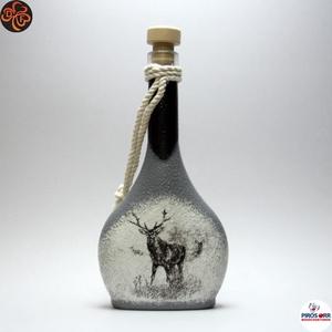 Vadász - szarvas képpel - italos üveg ; A vadászat szerelmeseinek , Otthon & Lakás, Dekoráció, Díszüveg, Decoupage, transzfer és szalvétatechnika, Vadász - szarvas képpel - italos üveg ( 0,2 l ) A vadászat szerelmeseinek .\nSaját trófeák fotóival i..., Meska