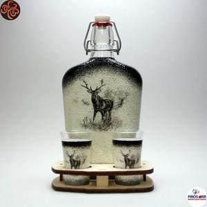 Vadász - szarvas képpel - pálinkás készlet ; A vadászat szerelmeseinek , Otthon & Lakás, Dekoráció, Díszüveg, Decoupage, transzfer és szalvétatechnika, Meska