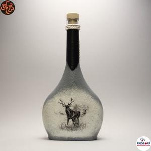 Vadász - szarvas képpel - italos üveg ; A vadászat szerelmeseinek , Otthon & Lakás, Dekoráció, Díszüveg, Decoupage, transzfer és szalvétatechnika, Meska