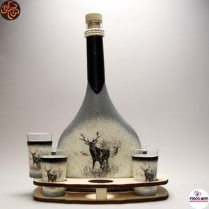 Vadász - szarvas képpel - italos készlet ; A vadászat szerelmeseinek , Otthon & Lakás, Dekoráció, Díszüveg, Decoupage, transzfer és szalvétatechnika, Meska