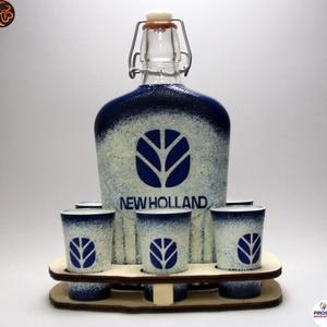New Holland Traktor pálinkás készlet ; Saját traktorod fényképével is!, Otthon & Lakás, Konyhafelszerelés, Pohár, Decoupage, transzfer és szalvétatechnika, Meska