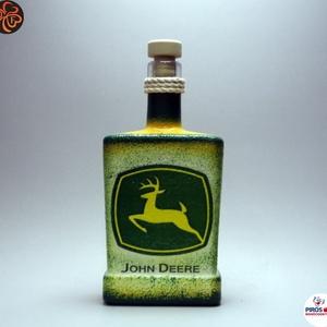 John Deere Traktor italos üveg ; Saját traktorod fényképével is!, Otthon & Lakás, Dekoráció, Díszüveg, Decoupage, transzfer és szalvétatechnika, Meska