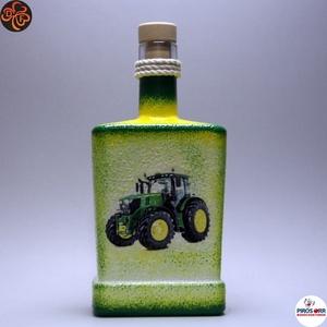 A gazda reggeli itala ; John Deere Traktor, Otthon & Lakás, Dekoráció, Díszüveg, Decoupage, transzfer és szalvétatechnika, John Deere Traktor italos üveg ( 0,5l )\n\nSaját John Deere Traktorod fényképével is! \nIgazi egyedi aj..., Meska