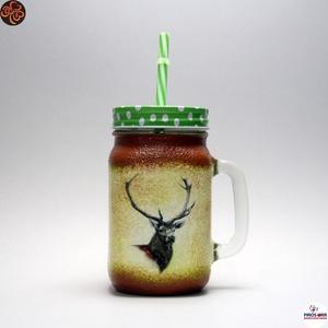 Vadász - szarvas képpel - üdítős pohár ; A vadászat szerelmeseinek , Otthon & Lakás, Konyhafelszerelés, Pohár, Decoupage, transzfer és szalvétatechnika, Vadász - szarvas képpel - üdítős pohár ( 0,3 l ) \nA vadászat és természet szerelmeseinek .\nSaját tró..., Meska