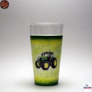 Gazda uram vizes pohár ; Saját John Deere traktorod fényképével is!, Otthon & Lakás, Konyhafelszerelés, Pohár, Decoupage, transzfer és szalvétatechnika, John Deere vizes pohár ( 0,3l )\n\nSaját John Deere traktorod fényképével is!\nIgazi egyedi ajándék gaz..., Meska