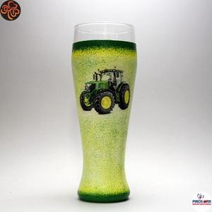 Gazda sörös pohára ; John Deere Traktor  ; Saját traktorod fényképével is!, Otthon & Lakás, Konyhafelszerelés, Pohár, Decoupage, transzfer és szalvétatechnika, Meska
