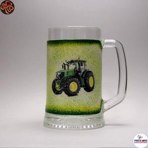 Gazda sörös korsója ; John Deere Traktor  ; Saját traktorod fényképével is!, Otthon & Lakás, Konyhafelszerelés, Pohár, Decoupage, transzfer és szalvétatechnika, Meska