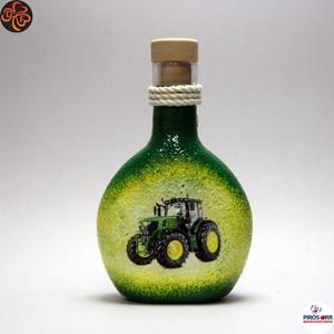 Gazda uram pálinkás flaskája ; Saját John Deere Traktorod fényképével is! , Otthon & Lakás, Konyhafelszerelés, Pohár, Decoupage, transzfer és szalvétatechnika, Meska
