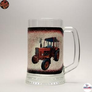Gazda sörös korsója ; Saját MTZ traktorod fényképével is!, Otthon & Lakás, Konyhafelszerelés, Pohár, Decoupage, transzfer és szalvétatechnika, Meska