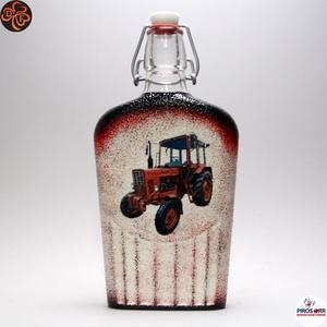 MTZ Traktor csatosüveg ; Saját Traktorod fényképével is! , Otthon & Lakás, Konyhafelszerelés, Pohár, Decoupage, transzfer és szalvétatechnika, MTZ Traktor csatosüveg ( 0,5l  )\n\nSaját MTZ Traktorod fényképével is! \nIgazi egyedi ajándék gazdákna..., Meska