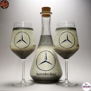 MERCEDES boros készlet ; Mercedes rajongóknak, férjeknek, barátoknak, Otthon & Lakás, Konyhafelszerelés, Pohár, Decoupage, transzfer és szalvétatechnika, Meska
