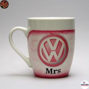 VOLKSWAGEN  kávés csésze ; Volkswagen autó rajongóknak, Otthon & Lakás, Konyhafelszerelés, Bögre & Csésze, Decoupage, transzfer és szalvétatechnika, Meska