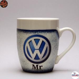 VOLKSWAGEN  kávés csésze ; Volkswagen autó rajongóknak, Otthon & Lakás, Konyhafelszerelés, Bögre & Csésze, Decoupage, transzfer és szalvétatechnika, VOLKSWAGEN kávés csésze ; \n\nIgazán egyedi Volkswagen emblémás ajándék, férjnek, apának, kávé kedvelő..., Meska