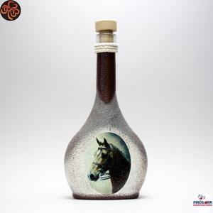 Ló - lovas italos üveg ; Lovak kedvelőinek, Otthon & Lakás, Dekoráció, Díszüveg, Decoupage, transzfer és szalvétatechnika, Ló - lovas italos üveg ; Lovak kedvelőinek ( 0,5 l );\nA lovaglás szerelmeseinek . Saját lovad fotóiv..., Meska