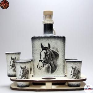 Ló - lovas pálinkás készlet ; Lovak kedvelőinek, Otthon & Lakás, Dekoráció, Díszüveg, Decoupage, transzfer és szalvétatechnika, Meska