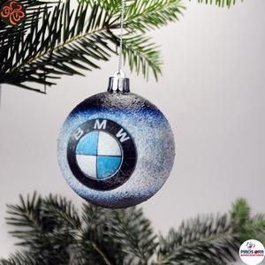 Karácsonyfadísz BMW ; Ajándék férj, barát, nagyapa, BMW rajongók részére, Karácsony & Mikulás, Karácsonyfadísz, Decoupage, transzfer és szalvétatechnika, Karácsonyfadísz BMW emblémával 7,5 cm ; Ajándék férj, barát, nagyapa, BMW rajongó részére\n\nIgazán eg..., Meska