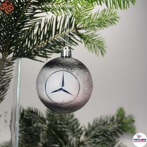 Karácsonyfadísz Mercedes; Ajándék férj, barát, nagyapa, Mercedes szurkoló részére, Karácsony & Mikulás, Karácsonyfadísz, Decoupage, transzfer és szalvétatechnika, Karácsonyfadísz Mercedes emblémával 7,5 cm ; Ajándék férj, barát, nagyapa, Mercedes szurkoló részére..., Meska