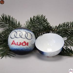 Karácsonyfadísz Audi ; Ajándék férj, barát, nagyapa, Audi rajongók részére, Karácsony & Mikulás, Karácsonyfadísz, Decoupage, transzfer és szalvétatechnika, Karácsonyfadísz Audi emblémával 6,5 cm ; Ajándék férj, barát, nagyapa, Audi rajongó részére\nSzétnyit..., Meska