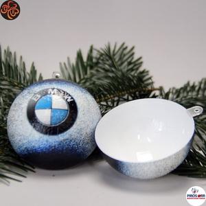 Karácsonyfadísz BMW ; Ajándék férj, barát, nagyapa, BMW rajongók részére, Karácsony & Mikulás, Karácsonyfadísz, Decoupage, transzfer és szalvétatechnika, Karácsonyfadísz BMW emblémával szétszedhető 6,5 cm ; Ajándék férj, barát, nagyapa, BMW rajongó részé..., Meska