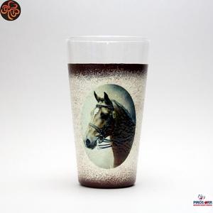 Ló - lovas vizes pohár ; Lovak kedvelőinek, Otthon & Lakás, Konyhafelszerelés, Pohár, Decoupage, transzfer és szalvétatechnika, Meska