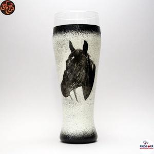 Ló - lovas söröspohár ; Lovak kedvelőinek, Otthon & Lakás, Konyhafelszerelés, Pohár, Decoupage, transzfer és szalvétatechnika, Ló - lovas söröspohár  ; Lovak kedvelőinek ( 0,5 l );\nA lovaglás szerelmeseinek . Saját lovad fotóiv..., Meska
