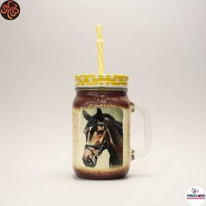 Ló - lovas üdítős pohár ; Lovak kedvelőinek, Otthon & Lakás, Konyhafelszerelés, Pohár, Decoupage, transzfer és szalvétatechnika, Meska