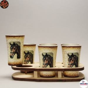 Ló - lovas pohárszett ; Lovak kedvelőinek, Otthon & Lakás, Konyhafelszerelés, Pohár, Decoupage, transzfer és szalvétatechnika, Ló - lovas pohárszett ; Lovak kedvelőinek ( 6x 45ml + fatartó );\nA lovaglás szerelmeseinek . Saját l..., Meska
