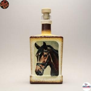 Ló - lovas italos üveg ; Lovak kedvelőinek, Otthon & Lakás, Dekoráció, Díszüveg, Decoupage, transzfer és szalvétatechnika, Meska