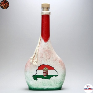 Nagy-Magyarország pálinkás üveg ; TRIANON ; , Otthon & Lakás, Dekoráció, Díszüveg, Decoupage, transzfer és szalvétatechnika, Meska