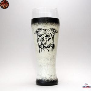 Kutya staffordshire terrier söröspohár ; Házi kedvenc rajongóknak , Otthon & Lakás, Konyhafelszerelés, Pohár, Decoupage, transzfer és szalvétatechnika, Kutya motívummal amerikai staffordshire terrier -  söröspohár ( 0,5l )  Házi kedvenc rajongóknak ; ..., Meska
