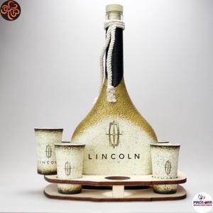 Lincoln emblémás italszett ; amerikai autó kedvelő férfiaknak, Otthon & Lakás, Konyhafelszerelés, Pohár, Decoupage, transzfer és szalvétatechnika, Lincoln emblémás italszett ; amerikai autó kedvelő férfiaknak ( 0,5l + 6 x 45ml + fatartó )\n\nIgazán ..., Meska