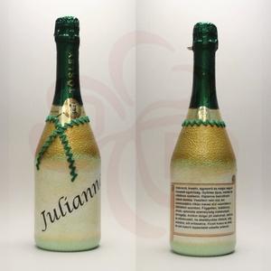 Neves-névnapos JULIANNA nevű nőknek, neves ajándék pezsgő, Otthon & Lakás, Dekoráció, Díszüveg, Decoupage, transzfer és szalvétatechnika, Neves-névnapos - JULIANNA nevű nőknek - készült neves ajándék pezsgő.\nKérhető saját névvel, feliratt..., Meska