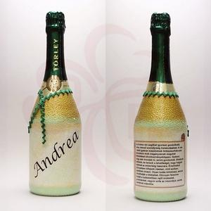 Neves-névnapos ANDREA nevű nőknek, neves ajándék pezsgő, Otthon & Lakás, Dekoráció, Díszüveg, Decoupage, transzfer és szalvétatechnika, Meska