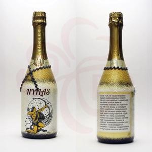Horoszkópos NYILAS ajándék pezsgő, Otthon & Lakás, Dekoráció, Díszüveg, Decoupage, transzfer és szalvétatechnika, Meska