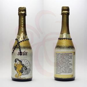 SZŰZ Horoszkóp ajándék pezsgő, Otthon & Lakás, Dekoráció, Díszüveg, Decoupage, transzfer és szalvétatechnika, Meska