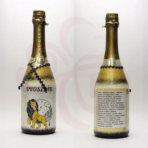 OROSZLÁN Horoszkópos ajándék pezsgő, Otthon & Lakás, Dekoráció, Díszüveg, Decoupage, transzfer és szalvétatechnika, Meska