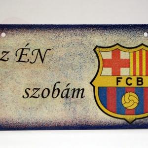FC Barcelona fatábla ; Barcelona foci szurkoló fiúknak, gyerekeknek, Otthon & Lakás, Dekoráció, Ajtódísz & Kopogtató, Decoupage, transzfer és szalvétatechnika, Meska