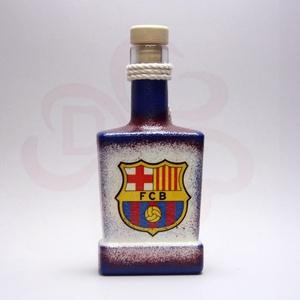 FC Barcelona italos üveg ; Barcelona futball szurkolóknak, Otthon & Lakás, Dekoráció, Díszüveg, Decoupage, transzfer és szalvétatechnika, FC Barcelona italos üveg ( 0,2 l ) \n\nA saját foci csapatod  fotójával is elkészítjük.\nIgazán egyedi ..., Meska