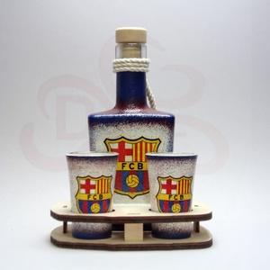 FC Barcelona italos készlet; Barcelona futball szurkolóknak, Otthon & Lakás, Dekoráció, Díszüveg, FC Barcelona italos készlet ( 0,2l + 2x 45ml + fatartó )   A saját foci csapatod  fotójával is elkés..., Meska