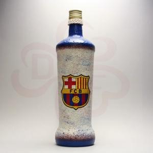 FC Barcelona pálinkás üveg ; Barcelona futball szurkolóknak, Otthon & Lakás, Dekoráció, Díszüveg, Decoupage, transzfer és szalvétatechnika, Meska