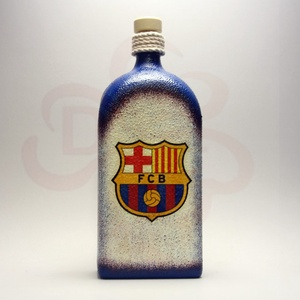 FC Barcelona italos üveg ; Barcelona futball szurkolóknak, Otthon & Lakás, Dekoráció, Díszüveg, Decoupage, transzfer és szalvétatechnika, Meska