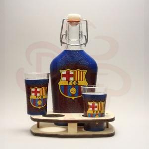 FC Barcelona pálinkás készlet sötét; Barcelona futball szurkolóknak, Otthon & Lakás, Dekoráció, Díszüveg, Decoupage, transzfer és szalvétatechnika, Meska