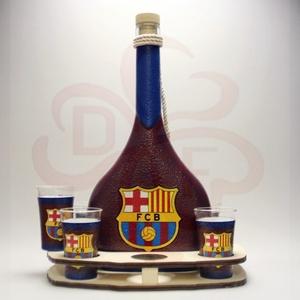 FC Barcelona italos szett ; Barcelona futball szurkoló férfiaknak, Otthon & Lakás, Dekoráció, Díszüveg, Decoupage, transzfer és szalvétatechnika, Meska