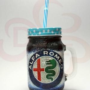 Alfa Romeo szívószálas pohár ; A saját Alfa autód fotójával is! , Otthon & Lakás, Konyhafelszerelés, Pohár, Alfa Romeo szívószálas üdítős pohár ( 0,3l ); A saját autód fotójával is!   Ha szeretnél egy emléket..., Meska