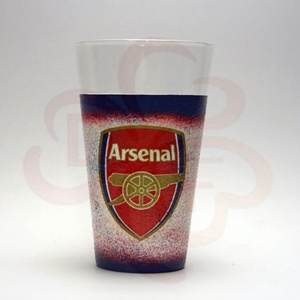 ARSENAL  emblémával díszített vizes pohár ; Arsenal foci szurkolóknak, Otthon & Lakás, Konyhafelszerelés, Pohár, Decoupage, transzfer és szalvétatechnika, Meska